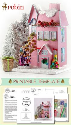 Christmas village printable pattern. DIY with paper.