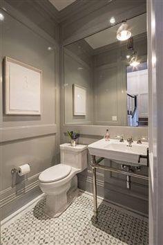 Gorgeous grey powder room. www.choosechi.com