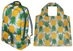 Pineapple PAKitToMe & SAKitToMe pack - bring home the shopping or explore your favourite city these neat little bags. Visit www.hardtofind.com.au #bright #home #gift #tropical #backpack #handbag