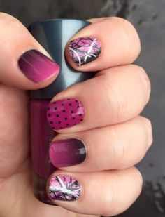 Arent these cute? Muddy Girl camp nail wraps by Jamberry with mulberry lacquer and black mini polka nail wraps. #muddygirl #Jamberry #nails DIY Order yours at http://msjamgirl.jamberrynails.net/shop/