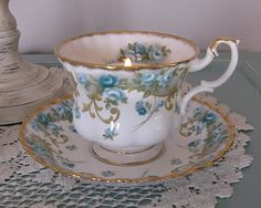 Pretty blue-flowered teacup! - This Royal Albert teacup is part of a series. When I have time I will look it up. I have the teacup.