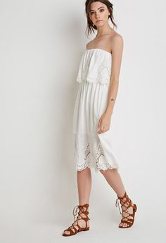 Floral Embroidered Strapless Dress   Forever 21 - 2002247400