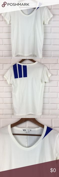 """Y-3 Yohji Yamamoto Adidas Three Striped Top Y-3 Yohji Yamamoto Adidas Three Striped Top Womens White Blue Size Medium. Material: Cotton and Elastane. Clean and no holes or stains.  Please see measurements below for fit.  Approx. measurements Laying Flat: armpit to armpit: 18.25"""" centerback of neck to bottom hem: 23"""" shoulder to end of cuff: 5.25"""" Y-3 Yohji Yamamoto Addidas Tops"""