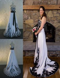 Gothic White Black Lace Appliques Wedding Dresses Vintage Strapless Bridal  Gowns 2015 Wedding Dresses f2b7216f1b4a
