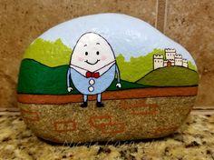 Humpty Dumpty sat on a wall painted rock #paintedrocks #kindnessrocks