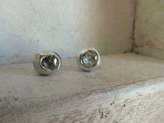 Rose cut Raw Rough Diamondpost backstud earrings by EnzoLuccati, $155.00