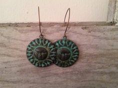 Copper Sun Earrings in a beautiful Verdigris by TheBeadedPaths, $16.00