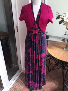 e1354317d1ece Phase eight pink   grey floral long maxi dress   pink tapework bolero ~ size  14