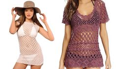 Hand-crocheted and knit beach coverups give an old-fashioned feel while flaunting skin; midriff top was featured in Sports Illustrated
