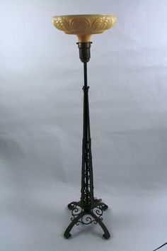 Antique Art Deco Torchiere Floor Lamp In The Style Of Paul Kiss