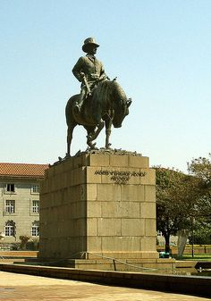 Statue of Andries Wilhelmus Jacobus Pretorius (November 1798 – 23 July whom Pretoria was named after. Saint Matthew, Its A Wonderful Life, African History, Countries Of The World, Public Art, Statue Of Liberty, South Africa, Travel, Statues