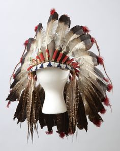 Eagle feather headdress, Dakota Indian, 1960-1901.