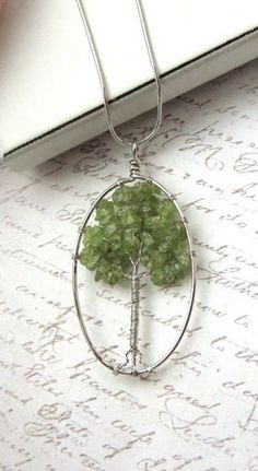 A Tree Of Life, Organic Nature Green Peridot Beaded Gemstone Rhodium Silver Plated Necklace. Wire Wrapped Jewelry, Wire Jewelry, Beaded Jewelry, Jewelery, Handmade Jewelry, Tree Of Life Jewelry, Tree Of Life Pendant, Wire Pendant, Pendant Jewelry