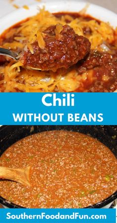 chili recipe Chili without Beans is full of beef, peppers, tomatoes, and spicesit's so flavorful and just right for game day or family night at home! Beef Chili Recipe, Chilli Recipes, Bean Recipes, Southern Chili Recipe No Beans, Chilli Recipe No Beans, No Bean Chili Crockpot, Chili Recipe With Tomato Soup, School Chili Recipe, Gastronomia