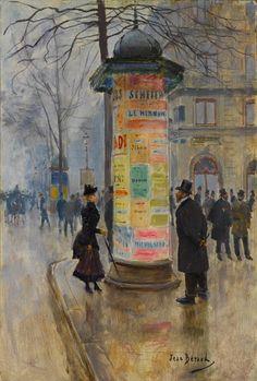 Jean Béraud (1849-1936) La Colonne Morris (Champs Elysees), 1885. Luat de pe Facebook.