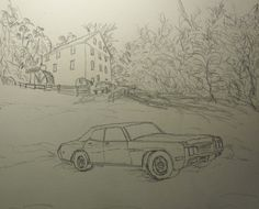 Muddin' at the Mill sketch (Pencil) before painting 2014