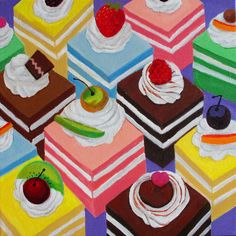 """Saatchi Online Artist: Toni Silber-Delerive; Acrylic, 2012, Painting """"Fancy Cakes"""""""