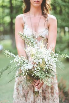 Wild bouquet  Rustic Woodland Wedding at Juliane James Place  Read more - http://www.stylemepretty.com/2014/03/05/rustic-woodland-wedding-at-juliane-james-place/