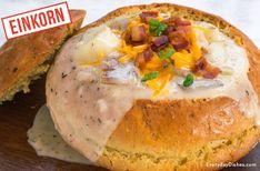 Homemade bread bowls recipe made with einkorn flour
