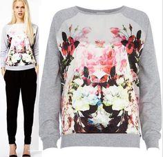 Flower Print Streetwear Sweatshirt