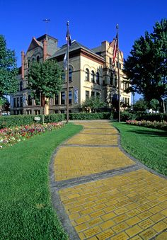 Grand Rapids Central School and the yellow brick road.  Grand Rapids is the birthplace of Judy Garland.