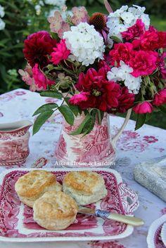 Aiken House & Gardens ~ red transferware garden tea