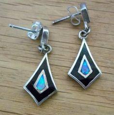 Vintage Opal, Onyx and Sterling Silver Dangle Earrings for Pierced Ears