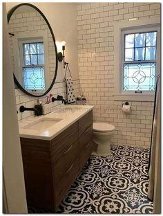 147 lovely farmhouse bathroom makeover ideas to try right now 143 Best Bathroom Tiles, Bathroom Flooring, Bathroom Ideas, Bathroom Makeovers, Master Bathroom, Mirror Bathroom, Simple Bathroom, Bathroom Renovations, Bathroom Tile Patterns