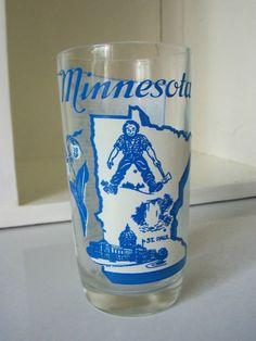 Vintage- Souvenir Glass Tumbler, State of Minnesota, Mid Century