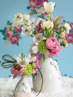 multi colourful bouquets. Nice styling-tip place a bigger vase next to a smaller one and distribute the flowers over the 2 vases in a nice arrangements.  - (re) Pinned by www.westpointorchids.com