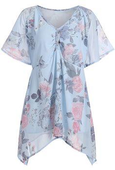 0b85090ba91 Plus Size Asymmetric Floral Chiffon Swing Blouse Plus Size Blouses