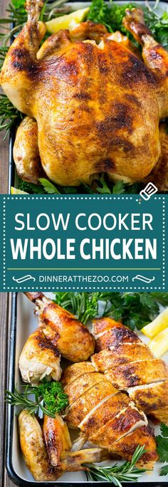 Slow Cooker Whole Chicken | Slow Cooker Rotisserie Chicken | Crock Pot Roasted Chicken | Crock Pot Whole Chicken #chicken #slowcooker #wholechicken #dinner #dinneratthezoo Slow Cooker Chicken Whole, Roast Chicken Crock Pot, Cooking Whole Chicken, Whole Roasted Chicken, Rotisserie Chicken, Chicken Cooker, Whole Chicken In A Crock Pot Recipe, Roasted Turkey, Slow Cooker Huhn