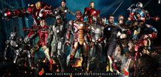 All available Iron Man 1/6 scale figures from Hot Toys