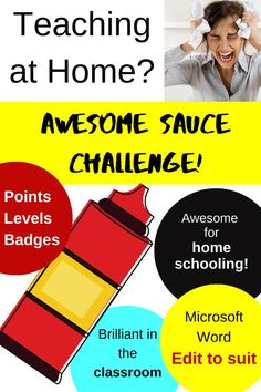 Awesome Sauce Challenge for Motivation Learning Resources, Teacher Resources, Teaching English, Learn English, Reward Ideas, High School Hacks, Microsoft Word Document, Teacher Hacks, Science Classroom