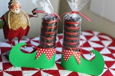 """Elf shoes...perfect for teachers, neighbors, friends Tag that reads: """"Have YoursELF a Merry Little Christmas!"""""""