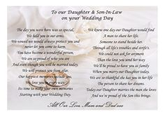 Beautiful poem for your Daughter and Son-in-law on their wedding day. Printed on A4 or A5 card. Comes laminated as standard unless you request this to be framed.