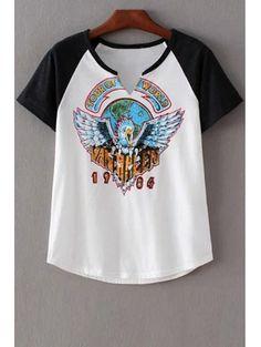 97e7e164ea119 Eagle Print Round Neck Short Sleeve T-Shirt