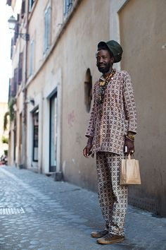 """I'm such a sucker for print, but I'm also a sucker for pajamas, and this gentleman seemed to combine the best of print and comfort. This was on a small side street somewhere in Rome, but his look felt like it could have been directly off the runway of Dries Van Noten, in the Marais of Paris."""