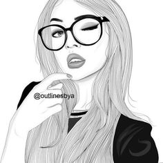 girl with nerd glasses art Tumblr Outline, Outline Art, Outline Drawings, Amazing Drawings, Cute Drawings, Drawing Sketches, Girl Drawings, Tumblr Girl Drawing, Tumblr Drawings