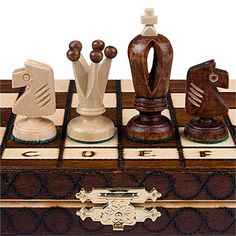 This chess set is a wonderfully detailed collectible carved of solid hornbeam wood. Each chess piece is individually handcrafted. Folding Birch wood chess board stows away your chess pieces inside whe