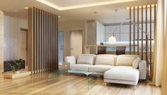 Architecture Glass Coffee Table Wooden Laminate Flooring Recessed Ceilling Light Cream Sofa Cushion Floor Lamp Curtain House Plant Chandelier  Brown Bar Stool Glass Door Wood Theme of Modern Eclectic Design