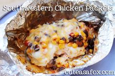 Southwestern Chicken Packets- just made these and they were FANTASTIC! The chicken was so tender and juicy from the steaming. Used a can of creamed corn instead of forzen kernels since that's what I had and didn't want to go to the store. REALLLLLLY delicious! Will be making this a staple! ~LA