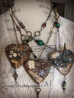 Mixed Media Altered Gypsy Jewelry Altered Necklace by QueenBe