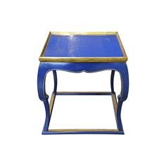 Hinson & Company Blue Piedouche Lacquer Table Top View
