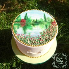 My first cake as 'Inga Ruby Cakes'. A waterscape scene.