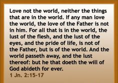 The world will pass away and what you love in the world will pass away also....temporal things of the world will not be found in Heaven....
