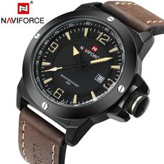 1751b8e53 TOP Military Watches Men Quartz Analog Clock Man Leather Sports Watches  Army Watch Relogios Masculino - Brow black Yellow Like and share! Visit our  store