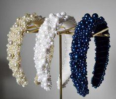 Pearl Headpiece, Crystal Headband, Pearl Headband, Pearl Hair, Prom Jewelry, Bridesmaid Jewelry, Handmade Hair Accessories, Wedding Hair Accessories, Bleu Royal