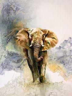 Wildlife Paintings, Wildlife Art, Animal Paintings, Paintings Of Elephants, Watercolor Animals, Watercolor Paintings, Elephant Artwork, Tier Fotos, Animal Sketches