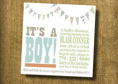 Bunting Baby Shower Invitation DIGITAL by SnapPeaDesign on Etsy, $20.00